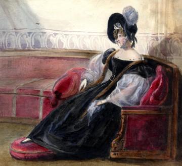 Selbstportrait Hortense im nachtblauen Kleid