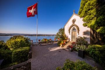 Blick neben der Schlosskapelle auf die Insel Reichenau