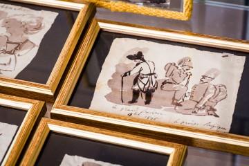 Eine so genannte Klecksographie, die Friedrich den Grossen und seinen Stab zeigt