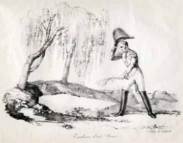 """""""Das Grab eines Tapferen"""", Lithographie von Delpeche nach 1821"""